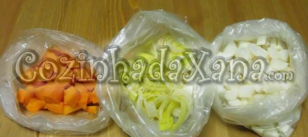 Legumes congelação e acondicionamento