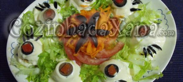 Olhos de sapo (ovos com atum e maionese)