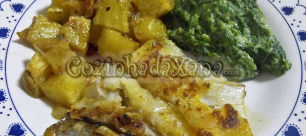 Bacalhau assado no forno com batatinhas